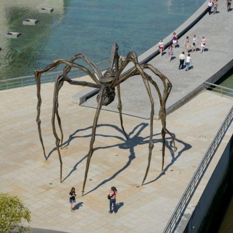 Giant spider sculpture in front of Guggenheim Bilbao museum