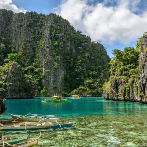 Philippine boats in the lagoon of Coron Island, Palawan, Philippines